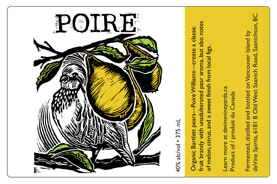 Label design for de Vine Wines & Spirits Poire