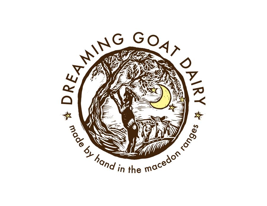 Linocut logo design for Dreaming Goat Dairy, Australia