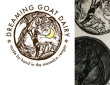 Linocut logo design for Dreaming Goat Dairy