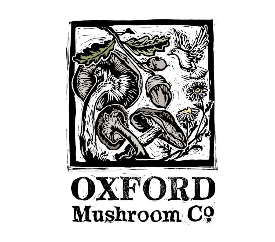 Oxford Mushroom Co. Linocut Logo Design