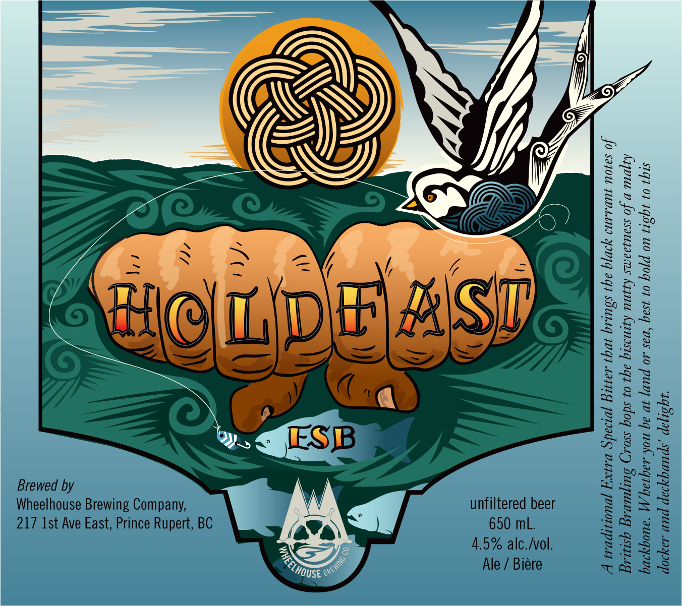 Label Design and Illustration for Wheelhouse Brewery's Hold Fast ESB
