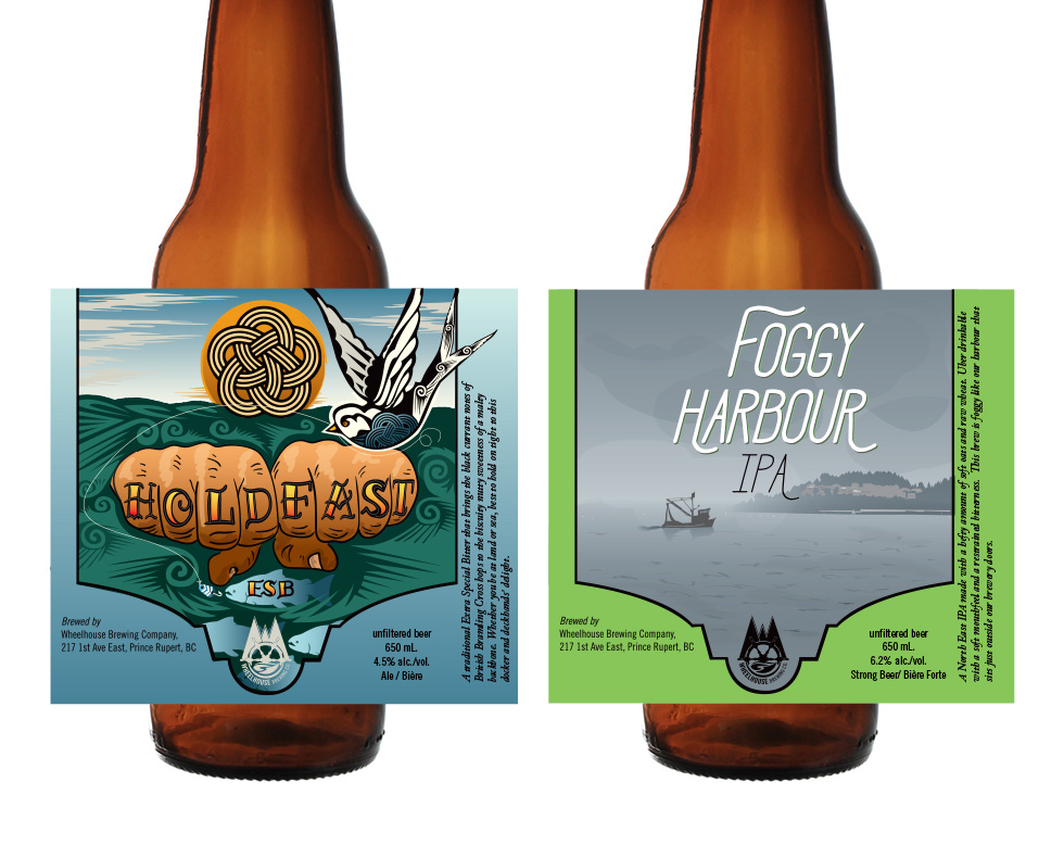 Label Design and Illustration for Wheelhouse Brewery's Hold Fast ESB and Foggy Harbour IPA