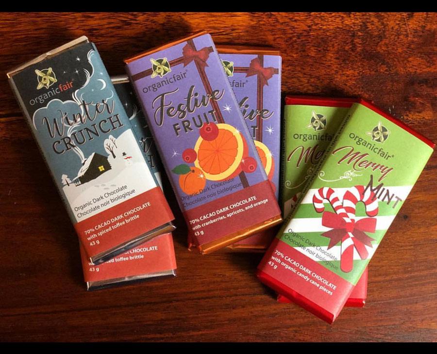Organic fair chocolate bar design and illustration