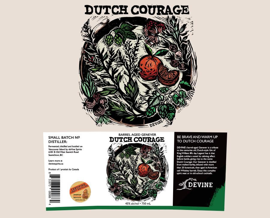 Label design and illustration for de Vine Spirits Dutch Courage
