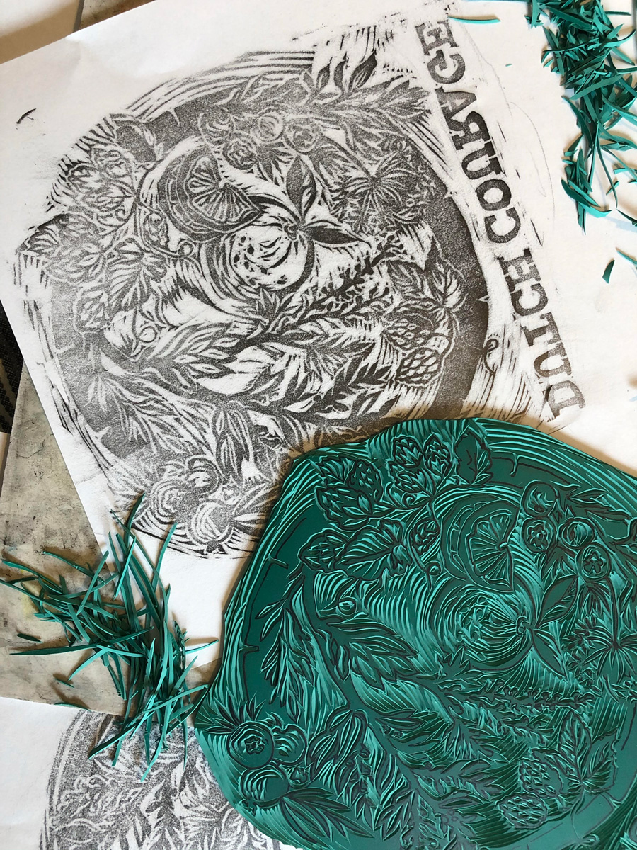 Linocut carving progress