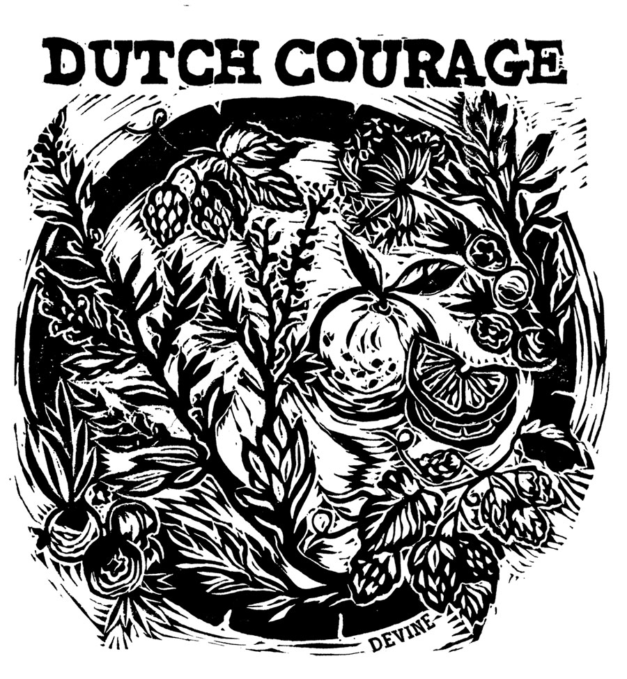 The final printed linocut design, ready to be used on the label