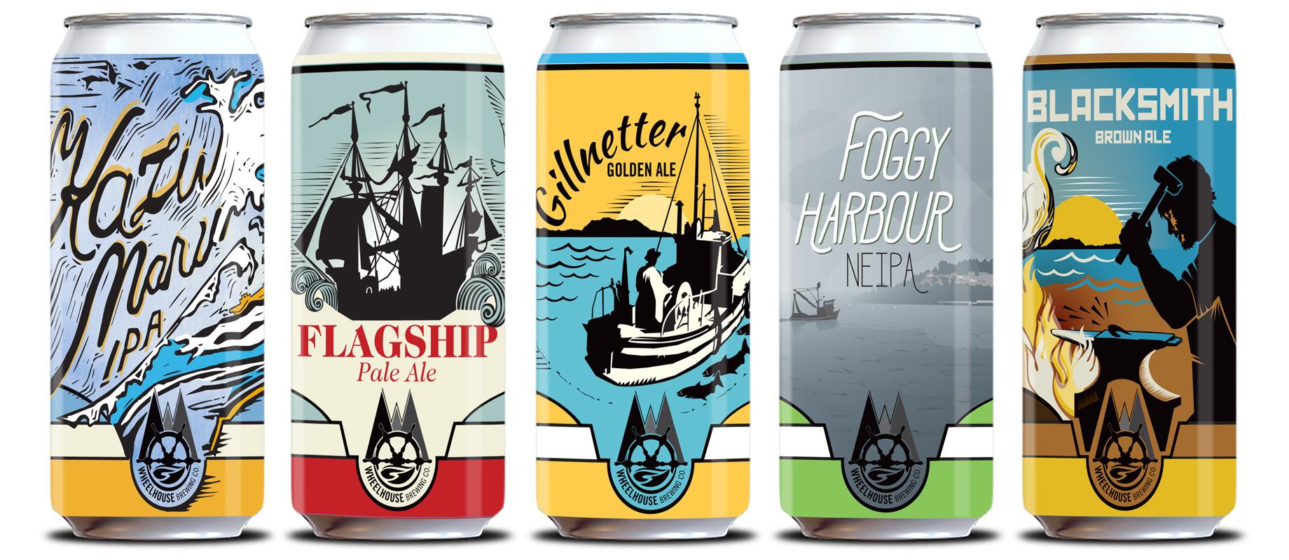 Wheelhouse Brewing Co. can designs