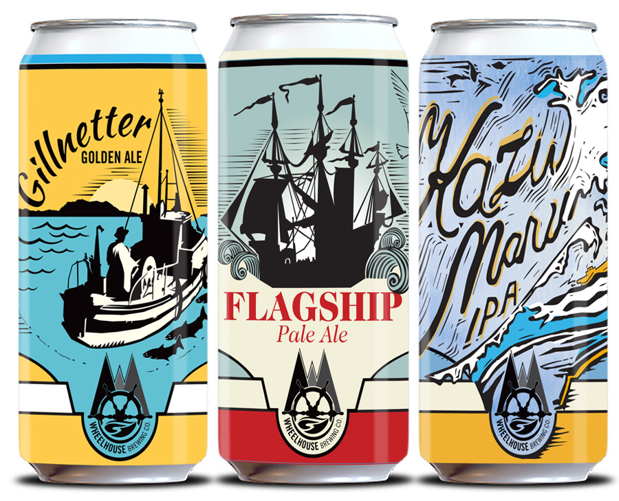 Wheelhouse Brewing Co. can designs