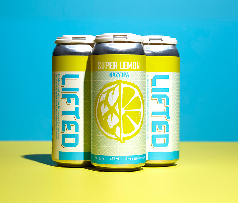 Graphic design, branding and package design for Lifted's Super Lemon Hazy IPA